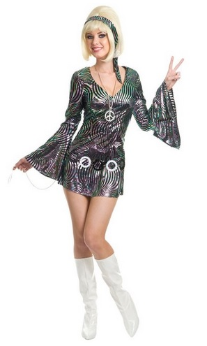 Women's Psychedelic Swirl Disco Diva Dress
